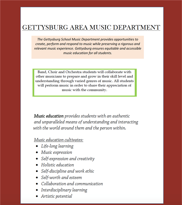 Gettysburg Area Music Department